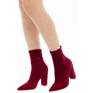 Forever 21 Red Pointed Toe Suede Sock Boots 7.5
